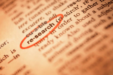 dictionary turned to 're-search'