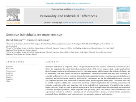 Sensitive individuals are more creative