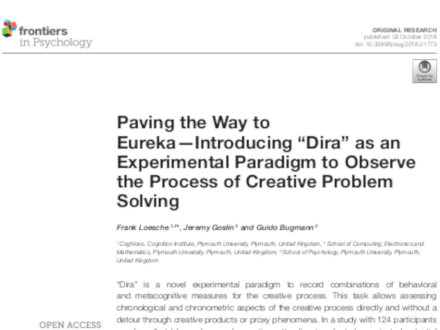 Paving the Way to Eureka — Introducing 'Dira' as an Experimental Paradigm to Observe the Process of Creative Problem Solving