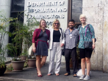 Klara Łucznik, Susan L. Denham, Diego S. Maranan, and Tara Zaksaite connecting to research networks at the University of the Philippines Open University